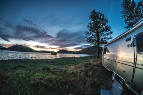 RV boondocking near water without any hookups.