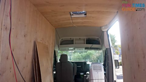1⁄4-inch Luan plywood makes a good ceiling and wall paneling for your DIY cargo van conversion