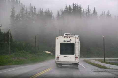 RV driving in fog requires a few extra precautions.