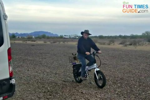 A fat tire electric bike with 4-inch tires is best for stability on- and off-road.