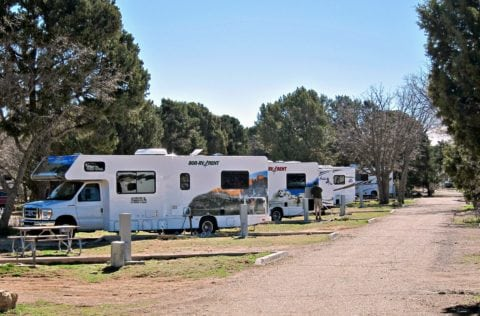 Rental RVs at the campground.