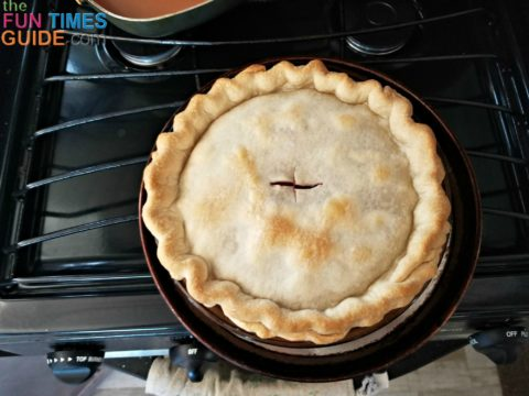 Pies, brownies, and sweet rolls made in a camp oven turn out just when they're bake at home.