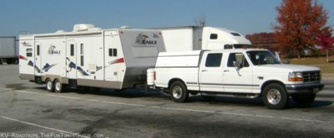 Jim and Karen's Jayco RV trailer and tow vehicle -- a Ford pickup truck