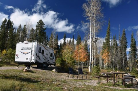 RV camping at a reserved site in Kaibab National Forest