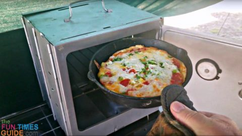 Pizza made in the camp oven