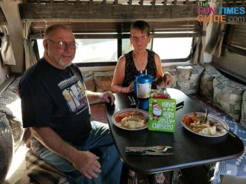 Enjoying holiday dinner with friends in the RV!