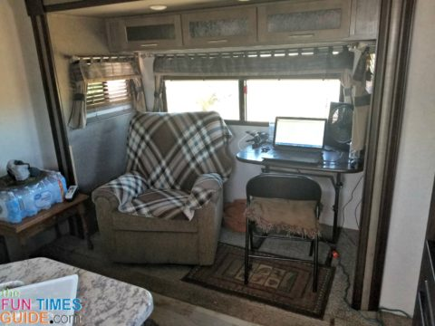 The finished product... a comfortable space in my RV living room where the dinette used to be!