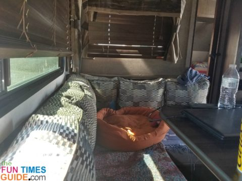 I had no need for an RV dinette that seats 6 people... so I replaced it with a comfy recliner and my new computer workspace!