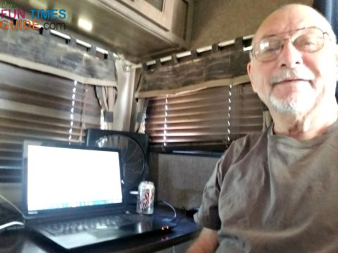 My new RV computer workspace -- where the dinette used to be.