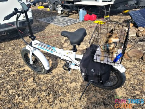 My dog Max ready to go for a ride on our RV electric bike.