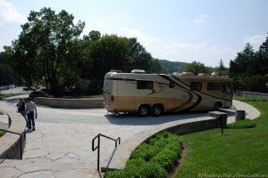 Most of the distilleries had sufficient parking for large motorhomes. The only one that didn't was Woodford Reserve pictured here. photo by Lynnette at TheFunTimesGuide.com