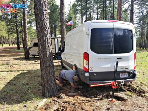 My recent RV rescue experience... placing rocks in ruts underneath the RV tire