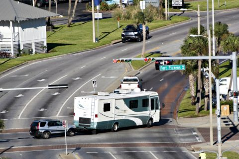 Making turns in a motorhome require extra attention... especially at intersections!