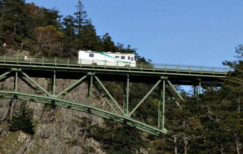 Wind gusts can be very powerful when you're RVing across high bridges.