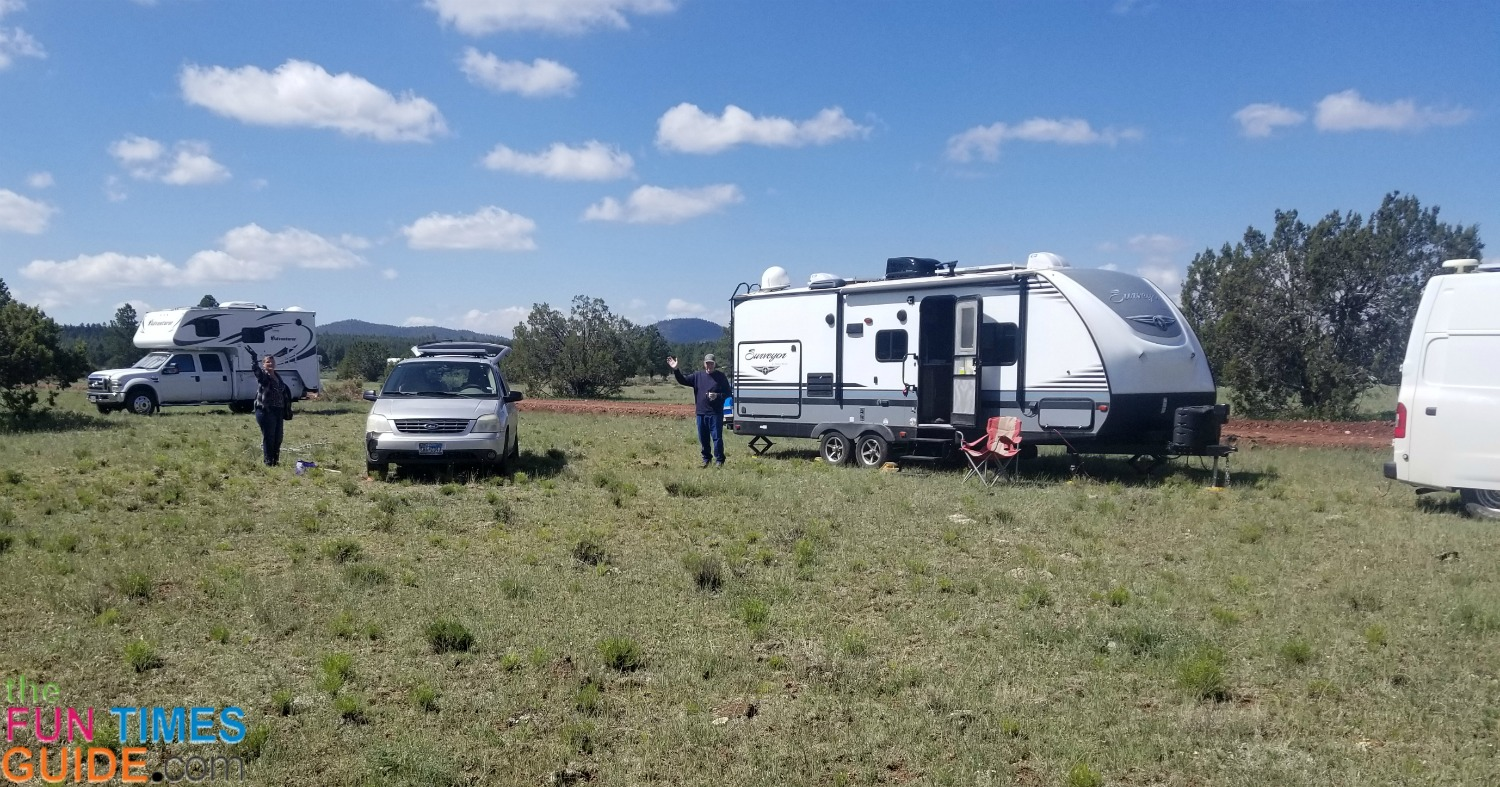 RV nomads doing what they do best... heading north for warmer weather during the winter months.