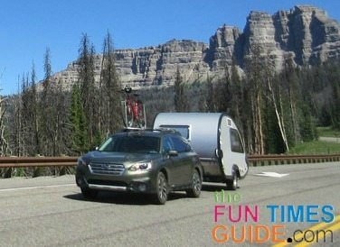 You can rent a teardrop trailer and tow it behind your own vehicle.