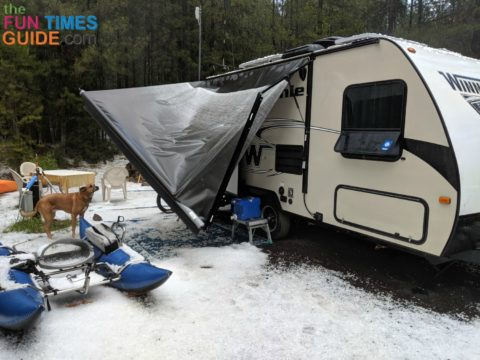 My friend's damaged RV awning after he left it unattended.