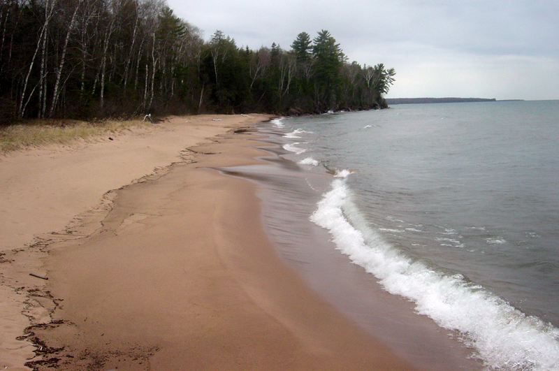 The lake superior shoreline, as viewed from one of the apostle islands