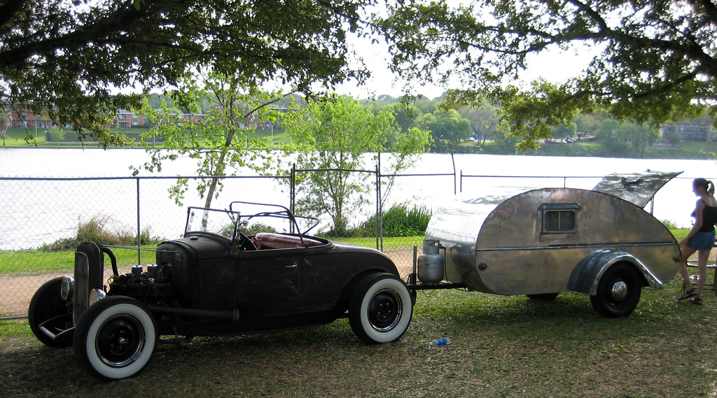 classic car towing a classic RV - the teardrop trailer. photo by The ...