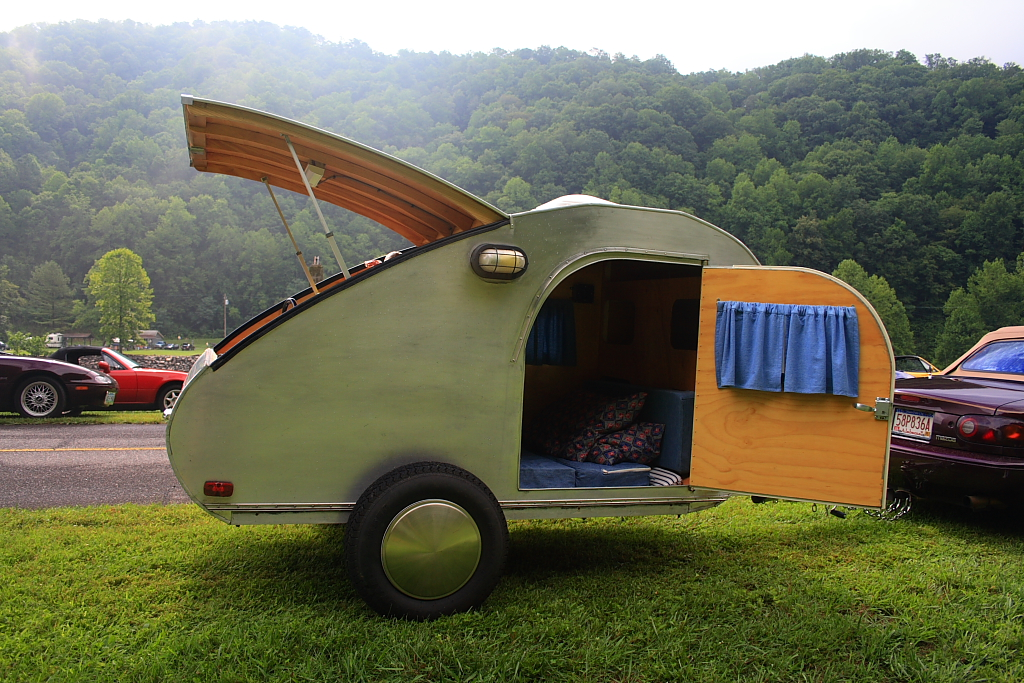 mazda miata towing teardrop trailer by emtboy9jpg - Tiny Camping Trailers